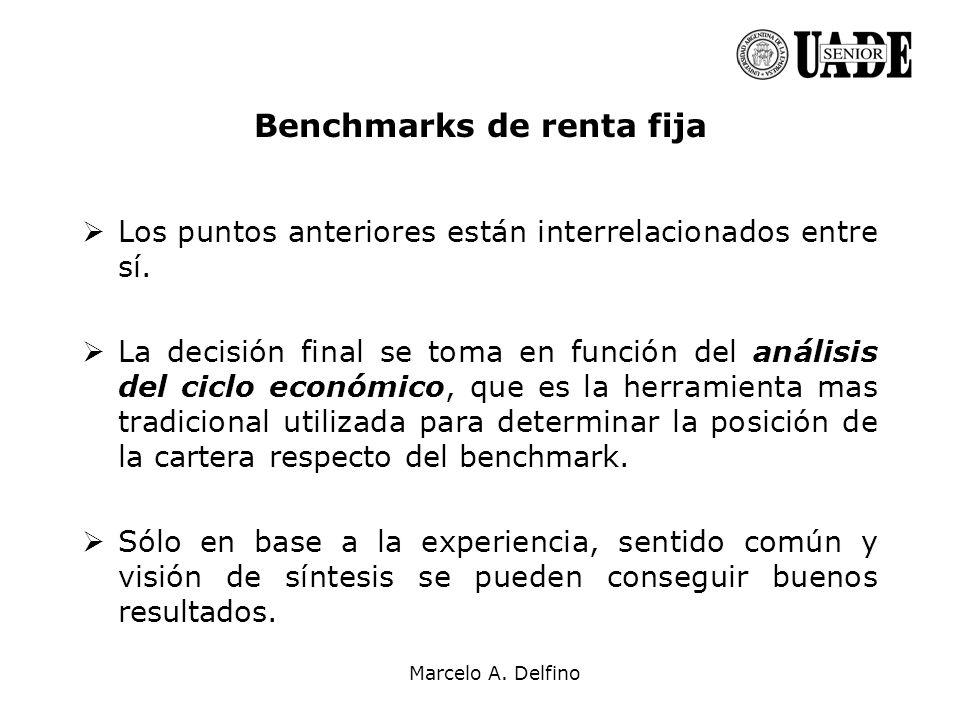 Marcelo A. Delfino Benchmarks de renta fija Los puntos anteriores están interrelacionados entre sí. La decisión final se toma en función del análisis