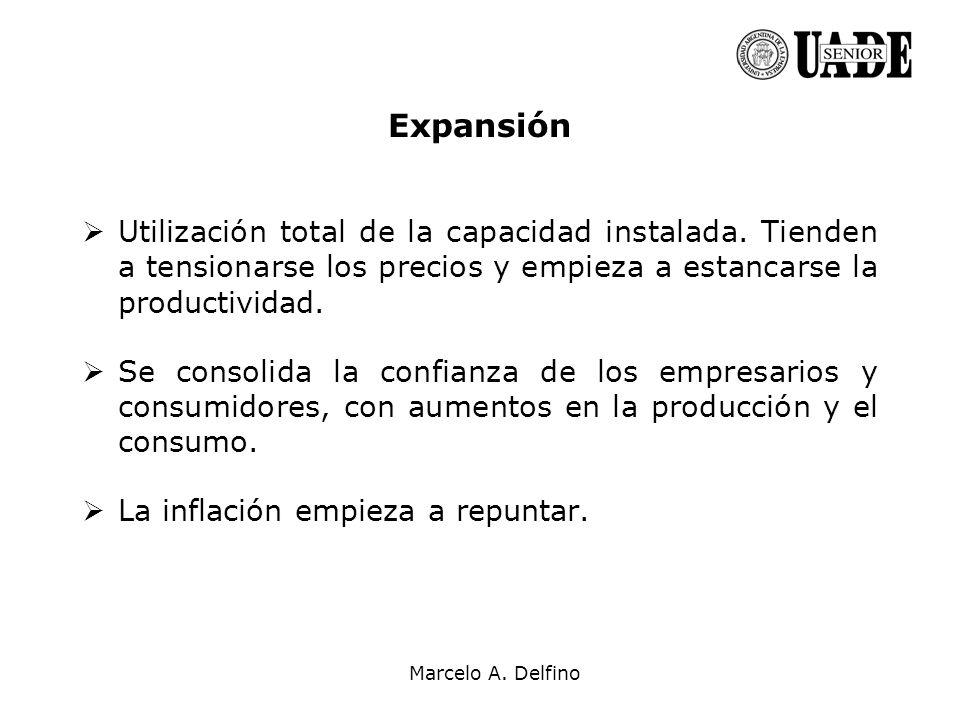 Marcelo A. Delfino Expansión Utilización total de la capacidad instalada. Tienden a tensionarse los precios y empieza a estancarse la productividad. S