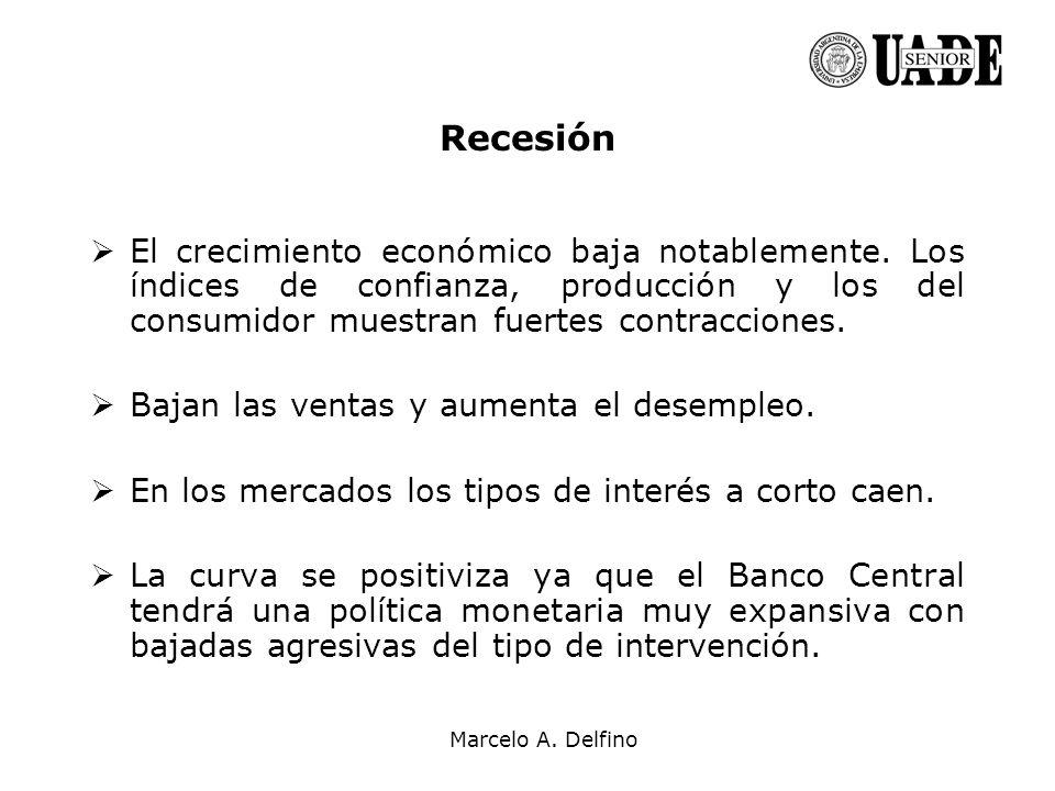 Marcelo A. Delfino Recesión El crecimiento económico baja notablemente. Los índices de confianza, producción y los del consumidor muestran fuertes con