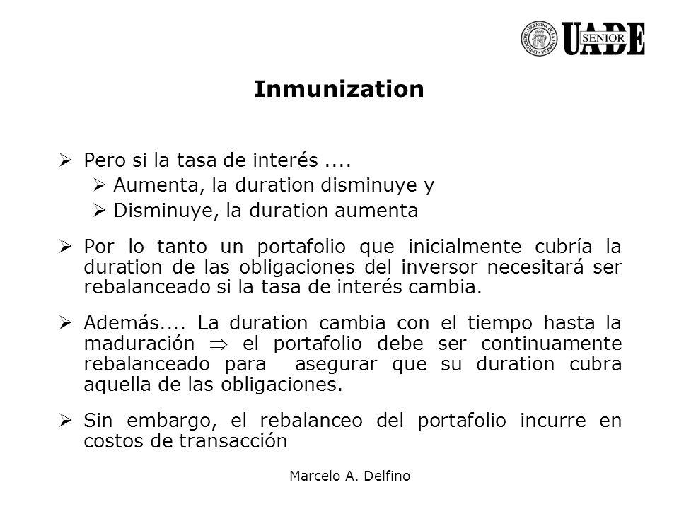Marcelo A. Delfino Inmunization Pero si la tasa de interés.... Aumenta, la duration disminuye y Disminuye, la duration aumenta Por lo tanto un portafo