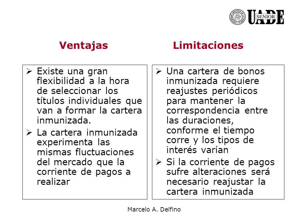 Marcelo A. Delfino Existe una gran flexibilidad a la hora de seleccionar los títulos individuales que van a formar la cartera inmunizada. La cartera i