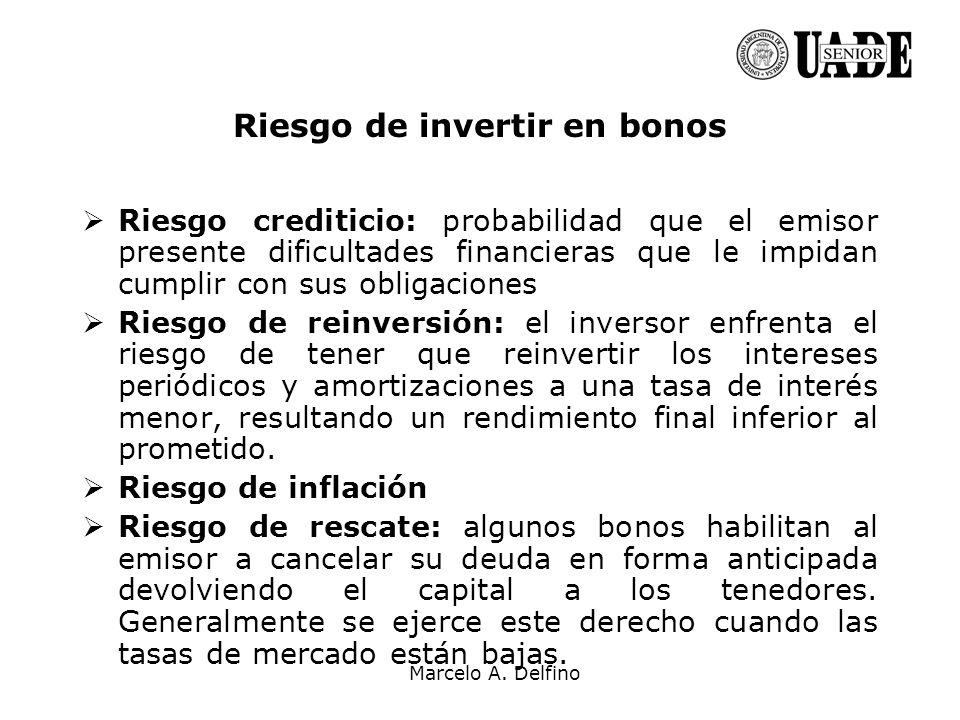 Marcelo A. Delfino Riesgo de invertir en bonos Riesgo crediticio: probabilidad que el emisor presente dificultades financieras que le impidan cumplir