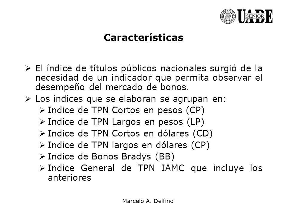 Marcelo A. Delfino Características El índice de títulos públicos nacionales surgió de la necesidad de un indicador que permita observar el desempeño d