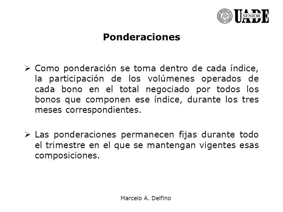Marcelo A. Delfino Ponderaciones Como ponderación se toma dentro de cada índice, la participación de los volúmenes operados de cada bono en el total n