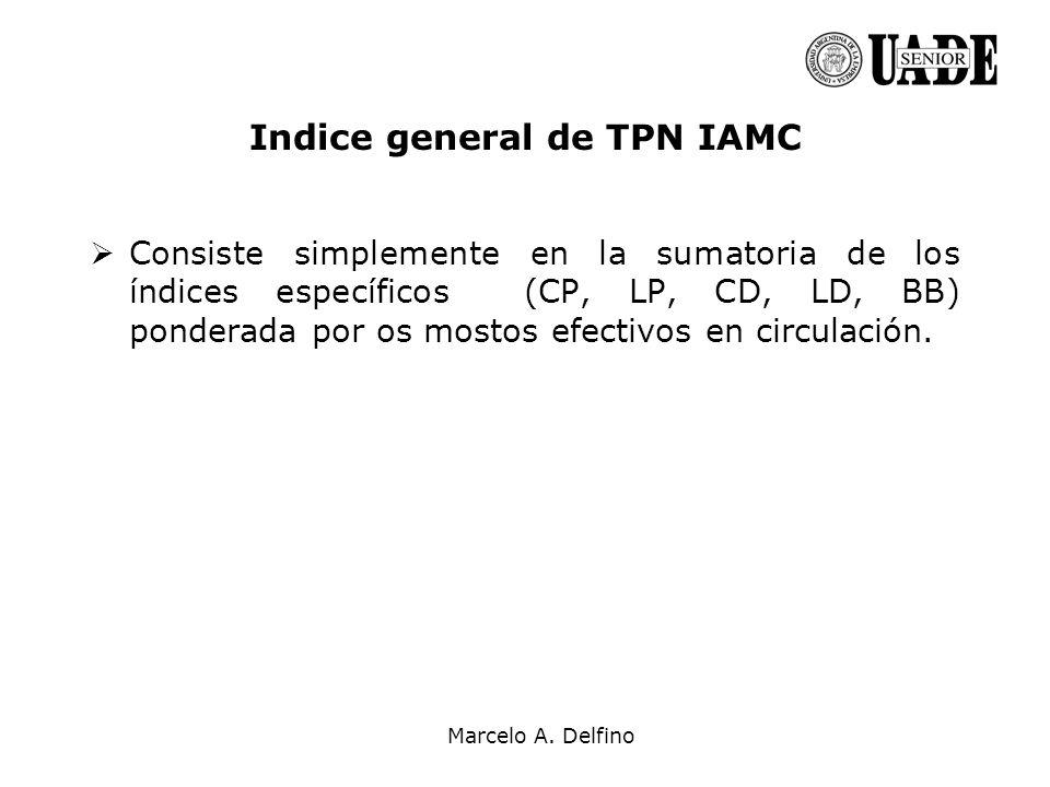 Marcelo A. Delfino Indice general de TPN IAMC Consiste simplemente en la sumatoria de los índices específicos (CP, LP, CD, LD, BB) ponderada por os mo