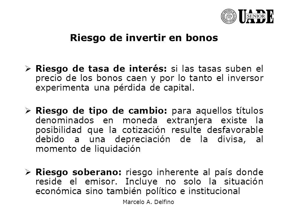 Marcelo A. Delfino Riesgo de tasa de interés: si las tasas suben el precio de los bonos caen y por lo tanto el inversor experimenta una pérdida de cap