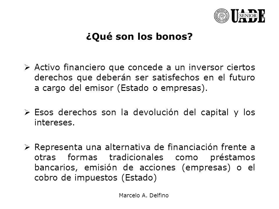 Marcelo A. Delfino ¿Qué son los bonos? Activo financiero que concede a un inversor ciertos derechos que deberán ser satisfechos en el futuro a cargo d