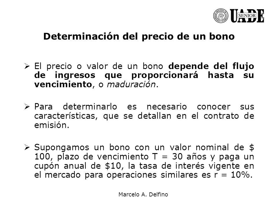 Marcelo A. Delfino Determinación del precio de un bono El precio o valor de un bono depende del flujo de ingresos que proporcionará hasta su vencimien