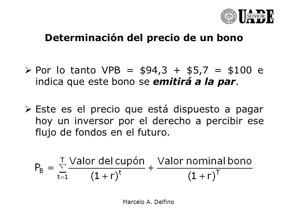 Marcelo A. Delfino Determinación del precio de un bono Por lo tanto VPB = $94,3 + $5,7 = $100 e indica que este bono se emitirá a la par. Este es el p