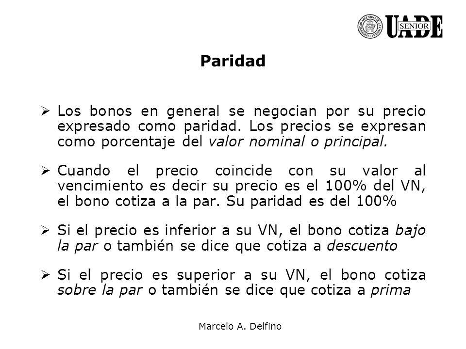 Marcelo A. Delfino Paridad Los bonos en general se negocian por su precio expresado como paridad. Los precios se expresan como porcentaje del valor no