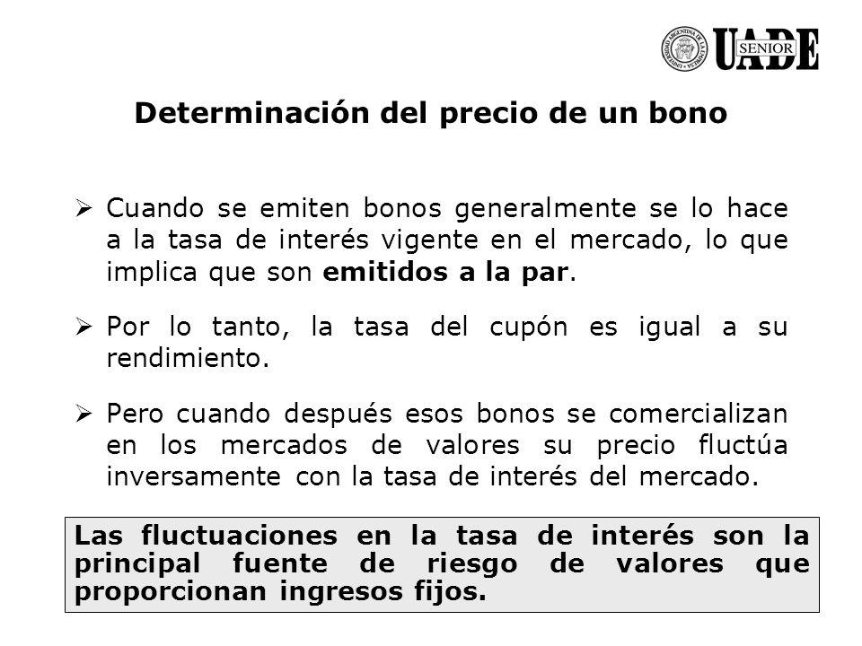 Marcelo A. Delfino Determinación del precio de un bono Cuando se emiten bonos generalmente se lo hace a la tasa de interés vigente en el mercado, lo q