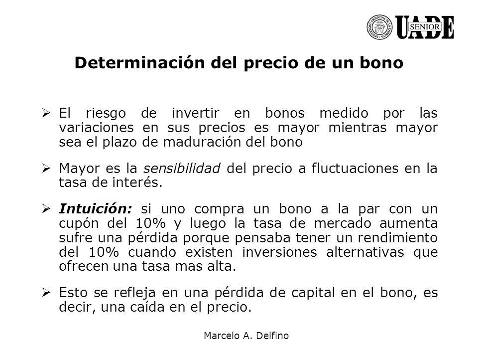 Marcelo A. Delfino Determinación del precio de un bono El riesgo de invertir en bonos medido por las variaciones en sus precios es mayor mientras mayo