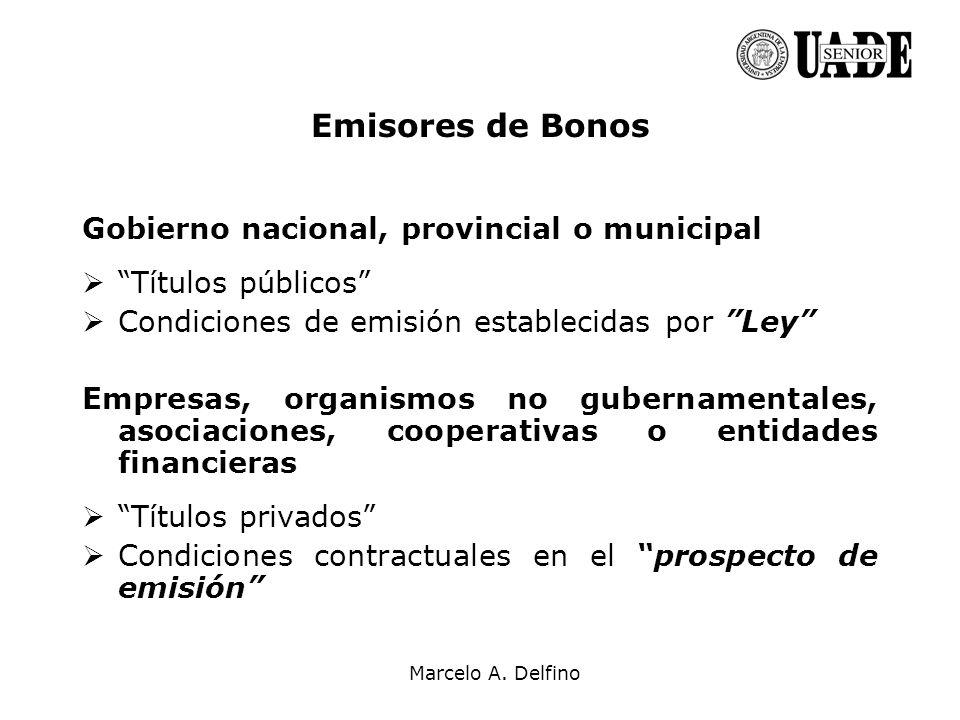 Marcelo A. Delfino Emisores de Bonos Gobierno nacional, provincial o municipal Títulos públicos Condiciones de emisión establecidas por Ley Empresas,