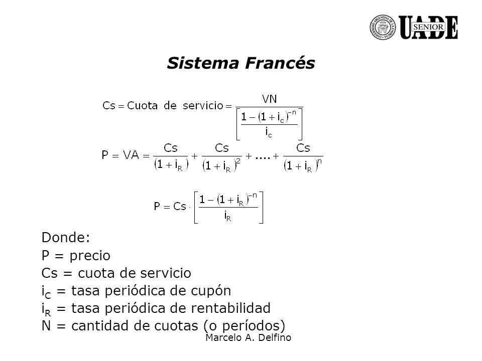 Sistema Francés Donde: P = precio Cs = cuota de servicio i C = tasa periódica de cupón i R = tasa periódica de rentabilidad N = cantidad de cuotas (o
