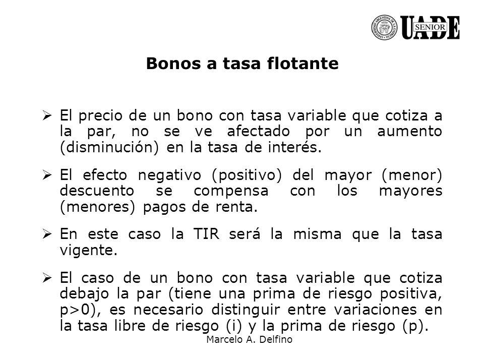 Bonos a tasa flotante El precio de un bono con tasa variable que cotiza a la par, no se ve afectado por un aumento (disminución) en la tasa de interés