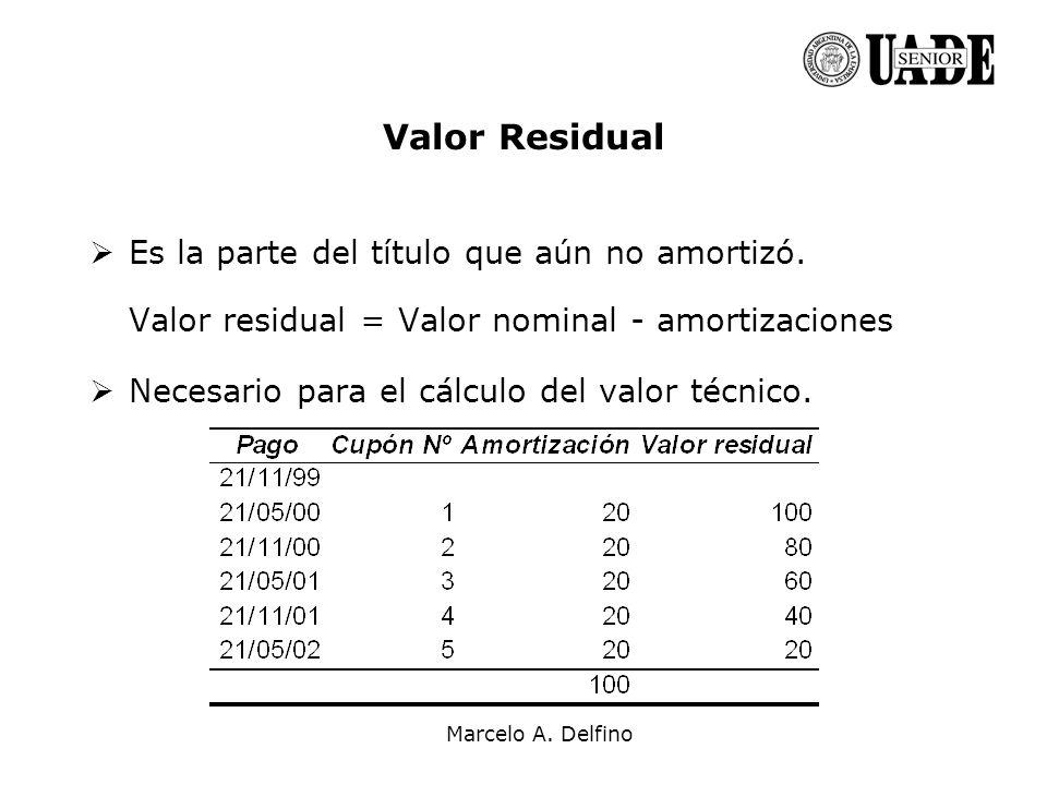 Marcelo A. Delfino Valor Residual Es la parte del título que aún no amortizó. Valor residual = Valor nominal - amortizaciones Necesario para el cálcul