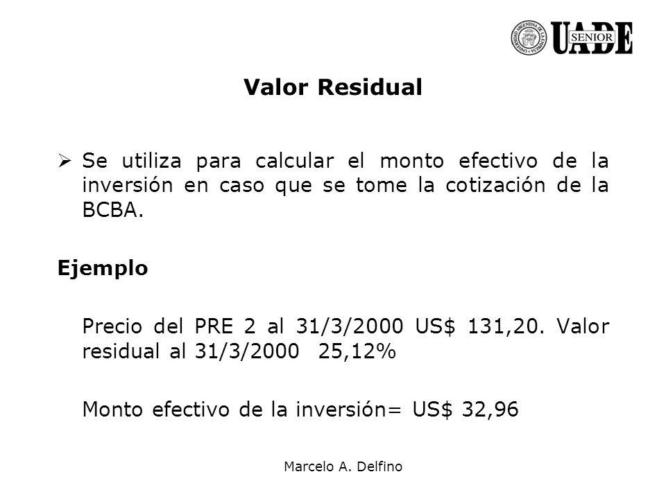 Marcelo A. Delfino Se utiliza para calcular el monto efectivo de la inversión en caso que se tome la cotización de la BCBA. Ejemplo Precio del PRE 2 a