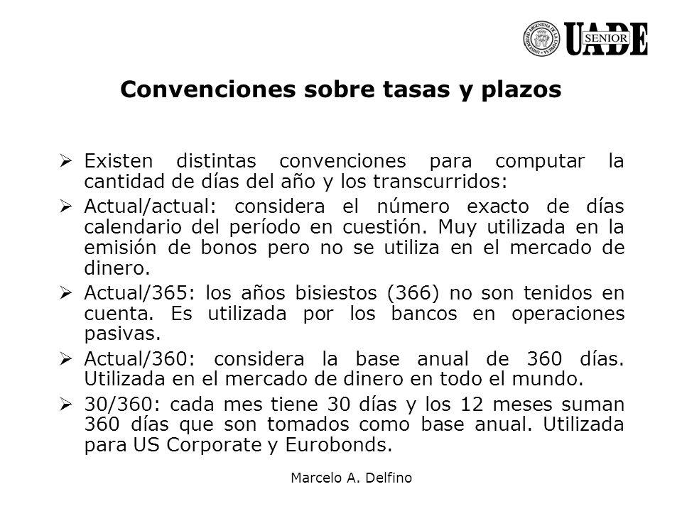 Marcelo A. Delfino Convenciones sobre tasas y plazos Existen distintas convenciones para computar la cantidad de días del año y los transcurridos: Act