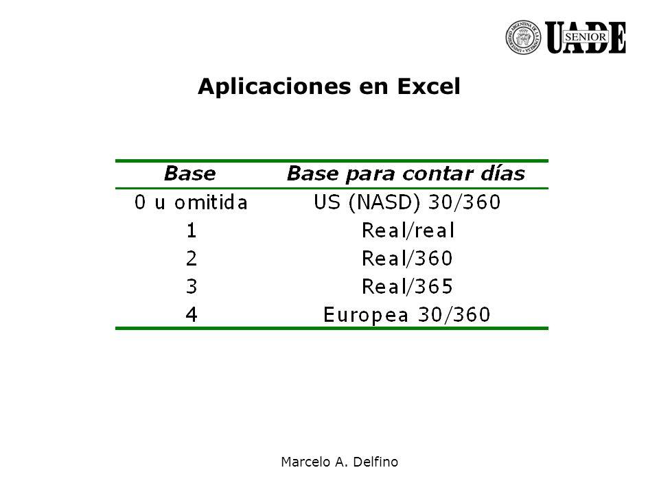 Marcelo A. Delfino Aplicaciones en Excel