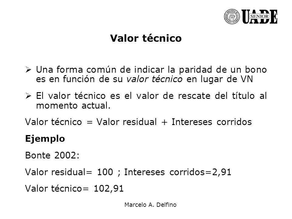 Marcelo A. Delfino Valor técnico Una forma común de indicar la paridad de un bono es en función de su valor técnico en lugar de VN El valor técnico es