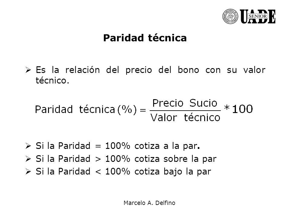 Marcelo A. Delfino Paridad técnica Es la relación del precio del bono con su valor técnico. Si la Paridad = 100% cotiza a la par. Si la Paridad > 100%