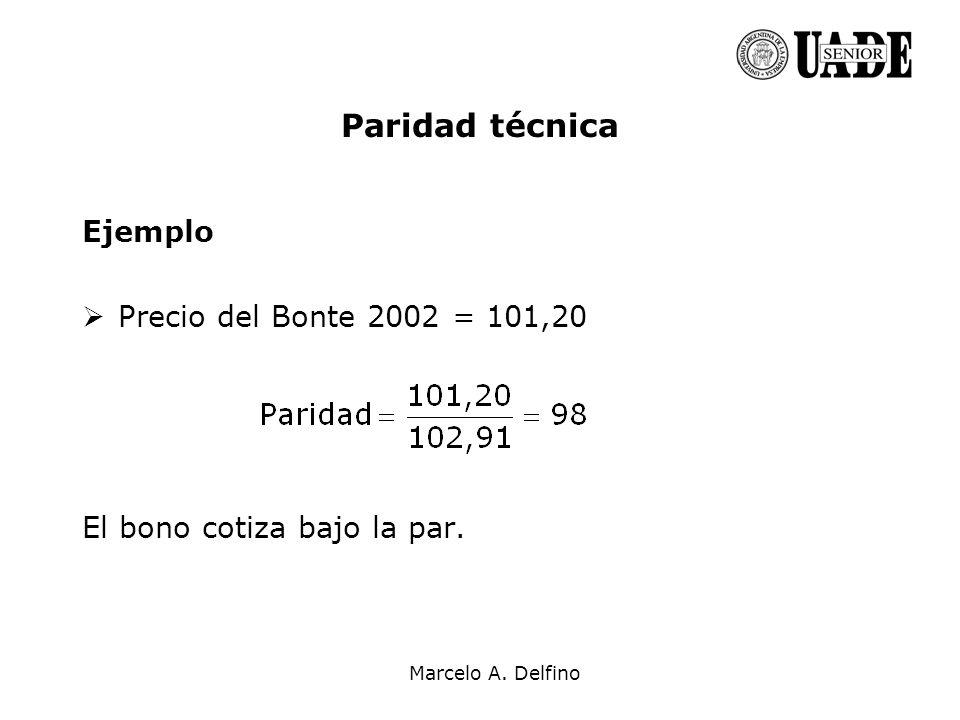 Marcelo A. Delfino Paridad técnica Ejemplo Precio del Bonte 2002 = 101,20 El bono cotiza bajo la par.