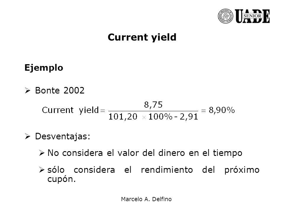 Marcelo A. Delfino Current yield Ejemplo Bonte 2002 Desventajas: No considera el valor del dinero en el tiempo sólo considera el rendimiento del próxi
