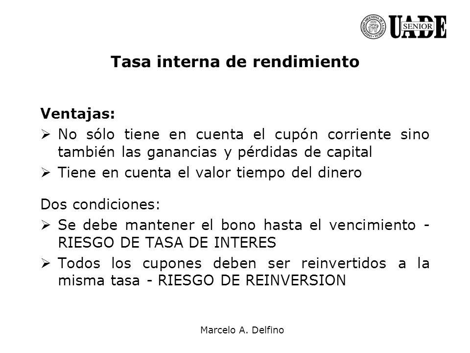 Marcelo A. Delfino Ventajas: No sólo tiene en cuenta el cupón corriente sino también las ganancias y pérdidas de capital Tiene en cuenta el valor tiem