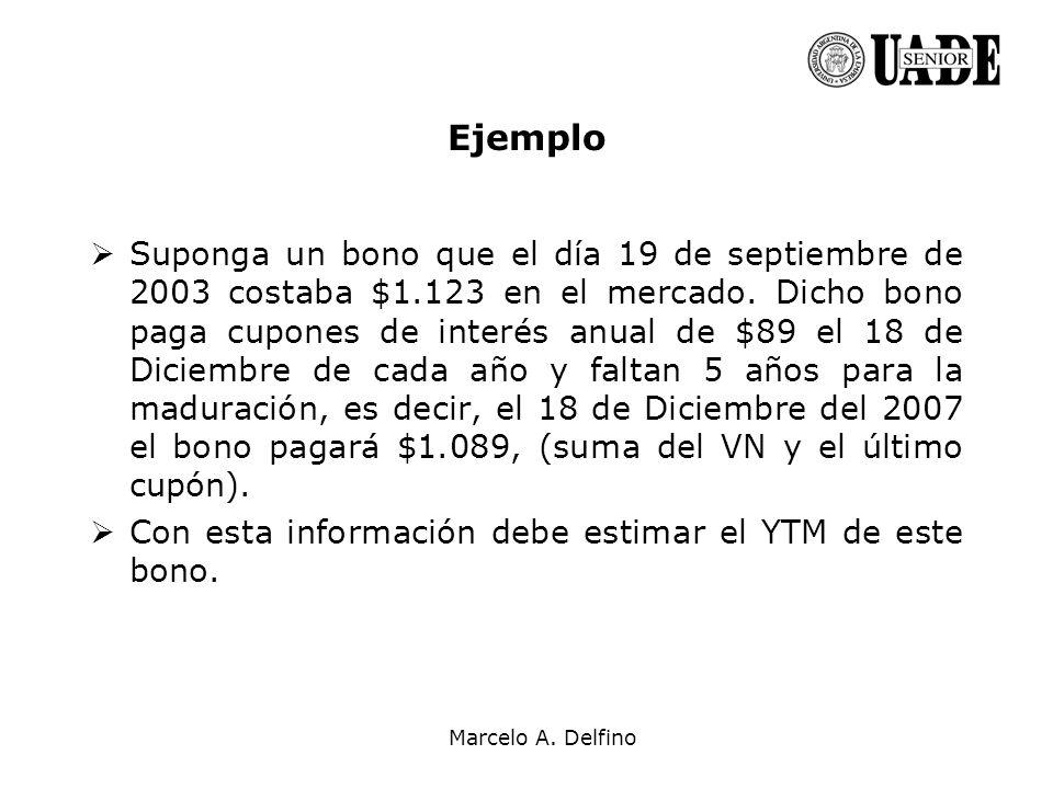 Marcelo A. Delfino Ejemplo Suponga un bono que el día 19 de septiembre de 2003 costaba $1.123 en el mercado. Dicho bono paga cupones de interés anual