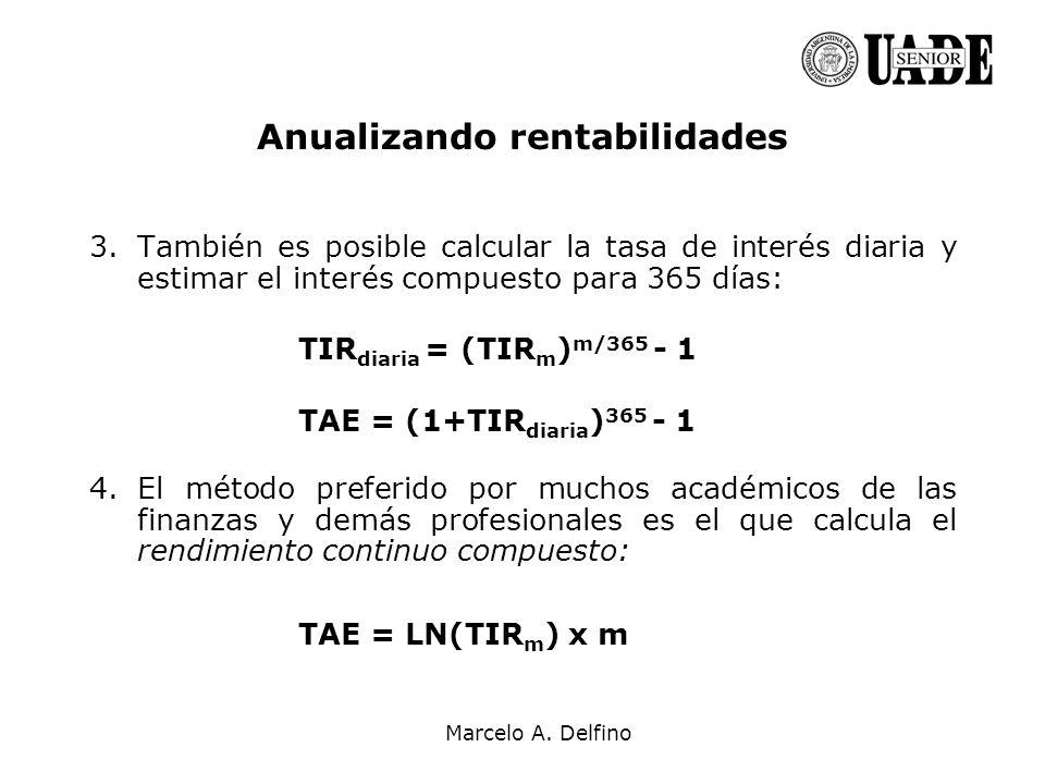 Marcelo A. Delfino Anualizando rentabilidades 3.También es posible calcular la tasa de interés diaria y estimar el interés compuesto para 365 días: TI