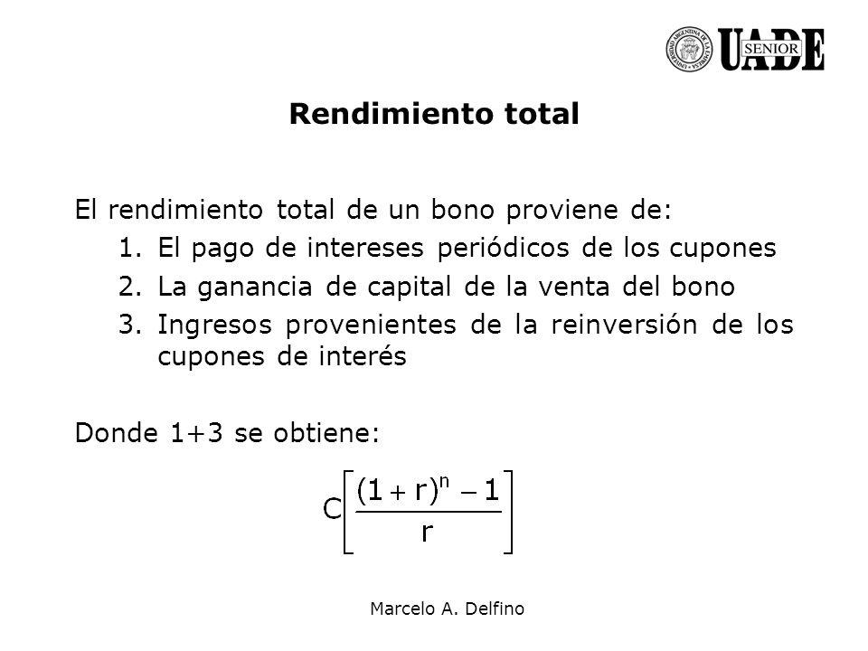 Marcelo A. Delfino Rendimiento total El rendimiento total de un bono proviene de: 1.El pago de intereses periódicos de los cupones 2.La ganancia de ca