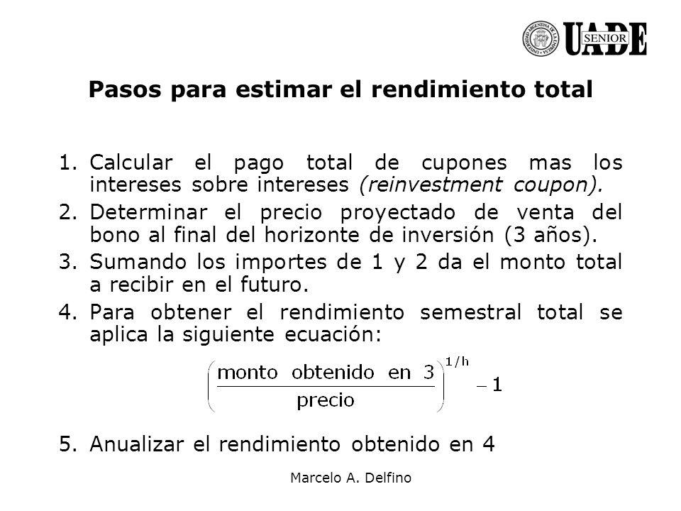 Marcelo A. Delfino Pasos para estimar el rendimiento total 1.Calcular el pago total de cupones mas los intereses sobre intereses (reinvestment coupon)