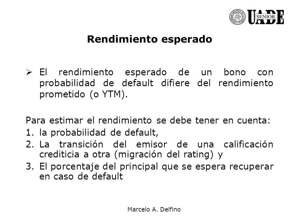 Marcelo A. Delfino Rendimiento esperado El rendimiento esperado de un bono con probabilidad de default difiere del rendimiento prometido (o YTM). Para