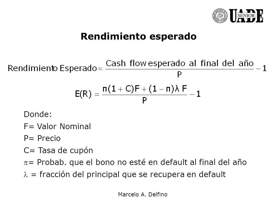 Marcelo A. Delfino Rendimiento esperado Donde: F= Valor Nominal P= Precio C= Tasa de cupón = Probab. que el bono no esté en default al final del año =