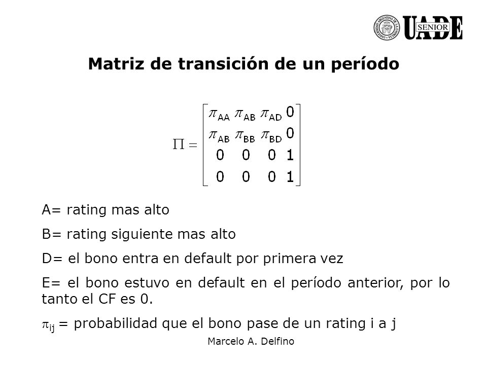 Marcelo A. Delfino Matriz de transición de un período A= rating mas alto B= rating siguiente mas alto D= el bono entra en default por primera vez E= e