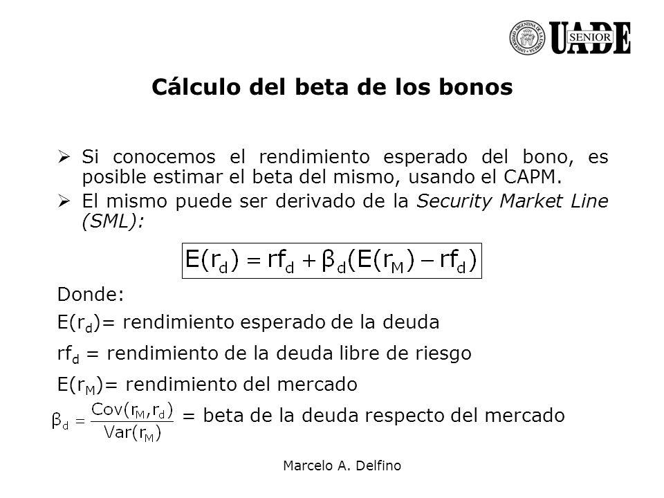Marcelo A. Delfino Cálculo del beta de los bonos Si conocemos el rendimiento esperado del bono, es posible estimar el beta del mismo, usando el CAPM.