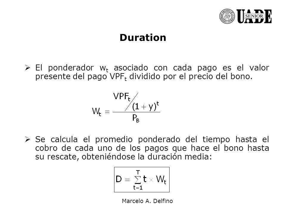 Marcelo A. Delfino Duration El ponderador w t asociado con cada pago es el valor presente del pago VPF t dividido por el precio del bono. Se calcula e