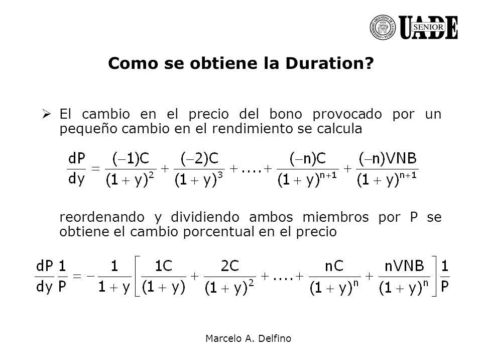 Marcelo A. Delfino Como se obtiene la Duration? El cambio en el precio del bono provocado por un pequeño cambio en el rendimiento se calcula reordenan