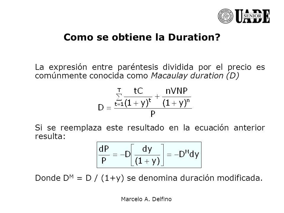 Marcelo A. Delfino Como se obtiene la Duration? La expresión entre paréntesis dividida por el precio es comúnmente conocida como Macaulay duration (D)