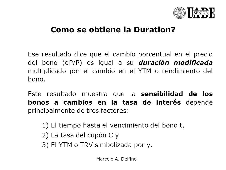 Marcelo A. Delfino Como se obtiene la Duration? Ese resultado dice que el cambio porcentual en el precio del bono (dP/P) es igual a su duración modifi