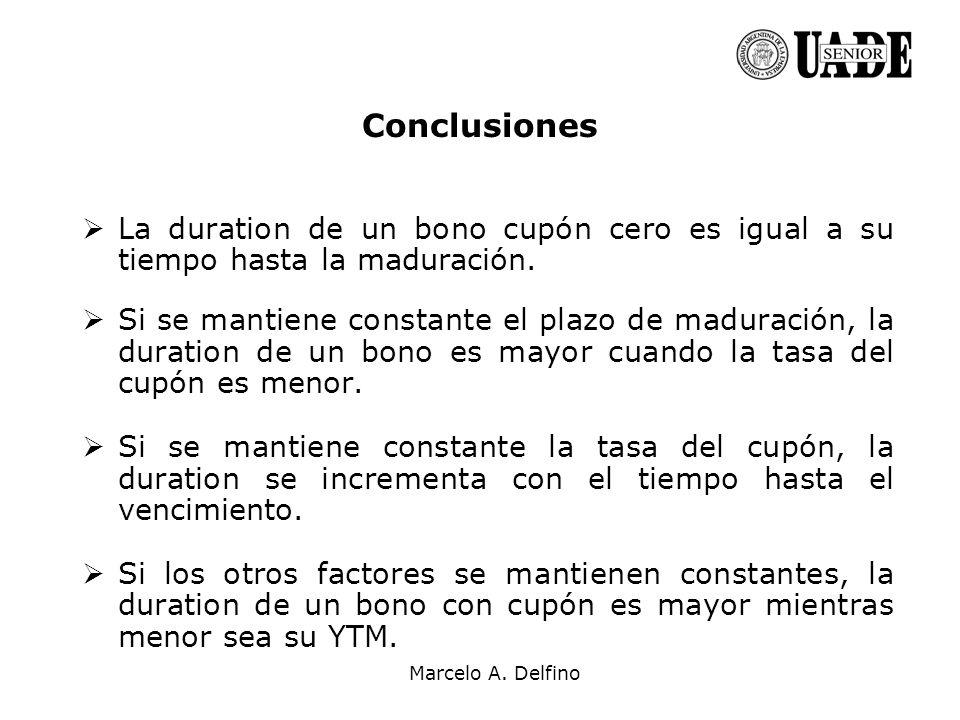 Marcelo A. Delfino Conclusiones La duration de un bono cupón cero es igual a su tiempo hasta la maduración. Si se mantiene constante el plazo de madur