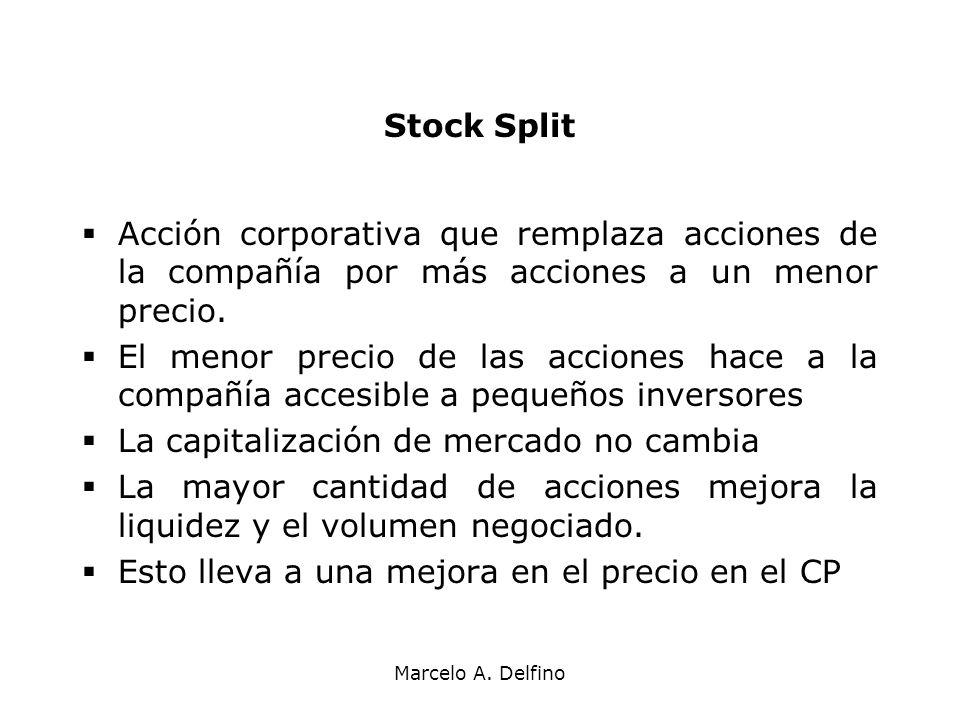 Marcelo A. Delfino Stock Split Acción corporativa que remplaza acciones de la compañía por más acciones a un menor precio. El menor precio de las acci