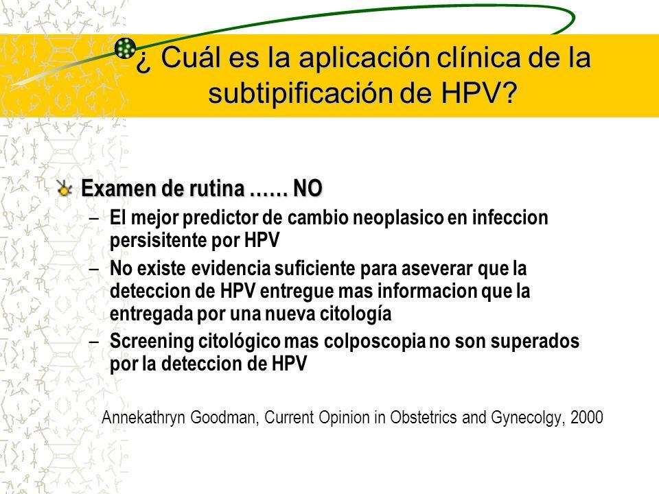 ¿ Cuál es la aplicación clínica de la subtipificación de HPV? Examen de rutina …… NO – El mejor predictor de cambio neoplasico en infeccion persisiten