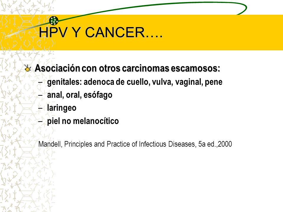 HPV Y CANCER…. Asociación con otros carcinomas escamosos: – genitales: adenoca de cuello, vulva, vaginal, pene – anal, oral, esófago – laringeo – piel