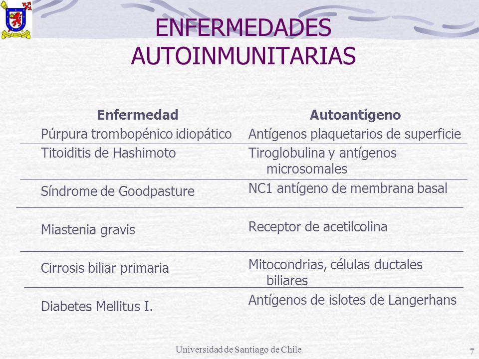 Universidad de Santiago de Chile 8 Mecanismos probables de desarrollo de autoinmunidad Mecanismos Liberación de antígenos secuestrados Alteración funcional de las células T: Reducción de la función supresora Aumento de la función coadyuvante Activación policlonal de las células B Ejemplos Anticuerpos contra espermatozoides, cristalino, mielina Lupus eritematoso sistémico y otras enfermedades autoinmunes Anemia hemolítica inducida por drogas Lupus eritematoso sistémico, otras enfermedades autoinmunes; anticuerpos anti-DNA inducidos por el virus de Epstein-Barr