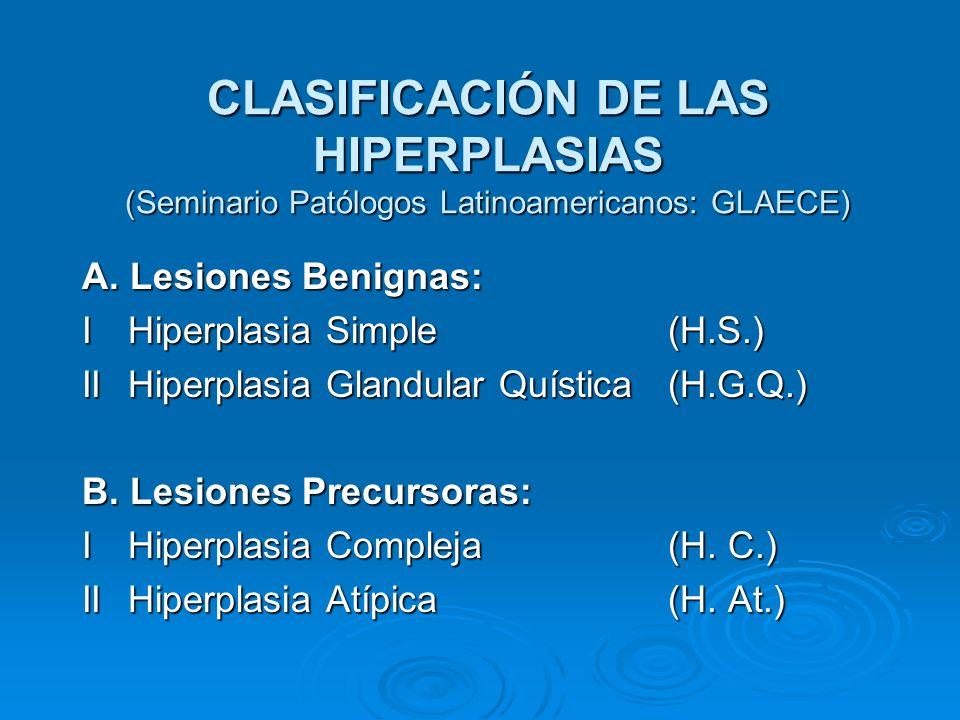 CLASIFICACIÓN DE LAS HIPERPLASIAS (Seminario Patólogos Latinoamericanos: GLAECE) A. Lesiones Benignas: I Hiperplasia Simple (H.S.) II Hiperplasia Glan