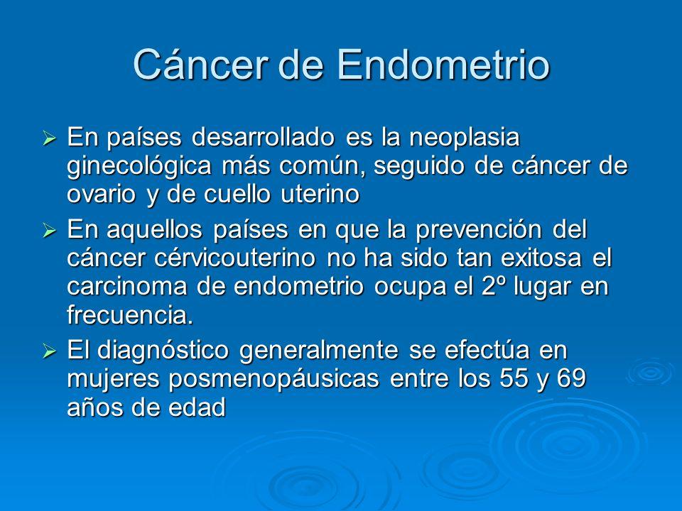 Cáncer de Endometrio En países desarrollado es la neoplasia ginecológica más común, seguido de cáncer de ovario y de cuello uterino En países desarrol