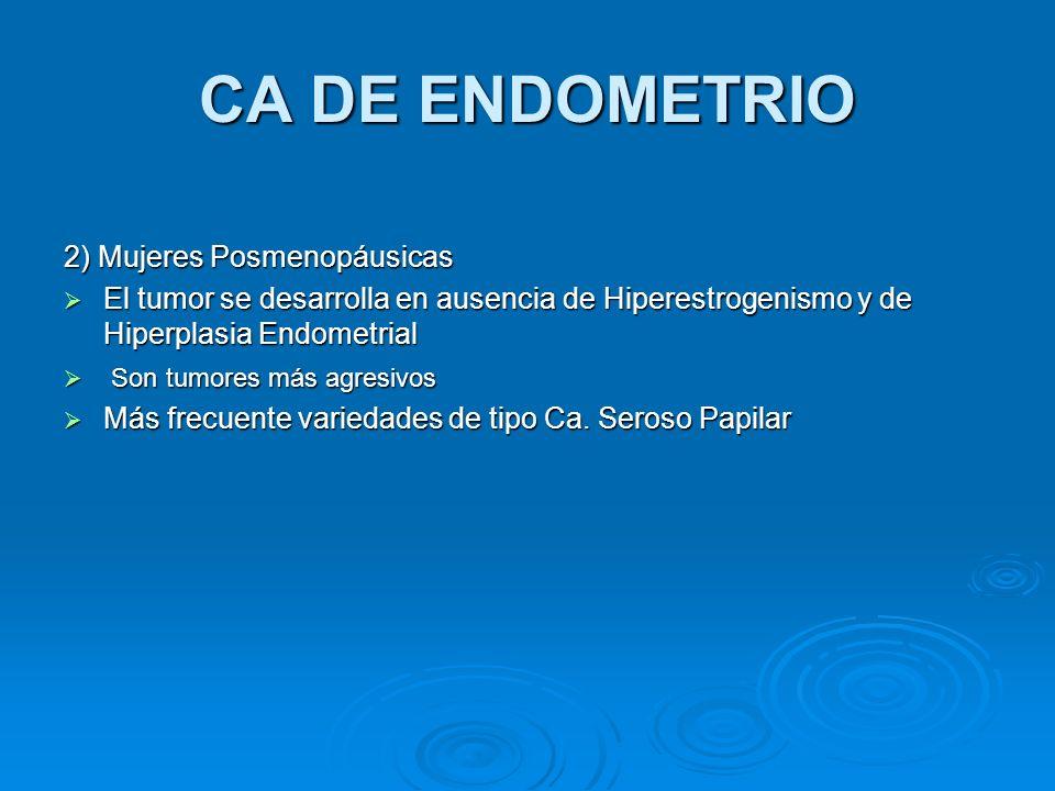CA DE ENDOMETRIO 2) Mujeres Posmenopáusicas El tumor se desarrolla en ausencia de Hiperestrogenismo y de Hiperplasia Endometrial El tumor se desarroll