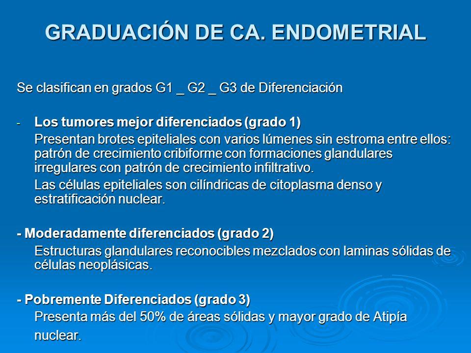 GRADUACIÓN DE CA. ENDOMETRIAL Se clasifican en grados G1 _ G2 _ G3 de Diferenciación - Los tumores mejor diferenciados (grado 1) Presentan brotes epit
