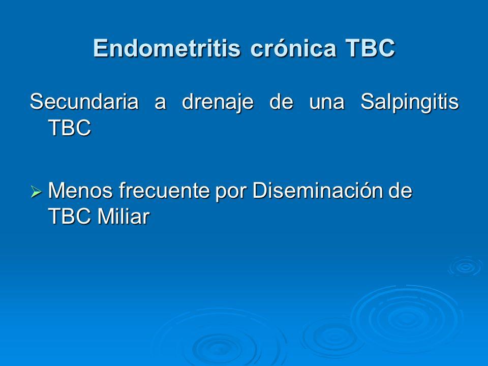 Endometritis crónica TBC Secundaria a drenaje de una Salpingitis TBC Menos frecuente por Diseminación de TBC Miliar Menos frecuente por Diseminación d